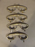 LOT OF 4 ANTIQUE VINTAGE BRASS DRAWER PULL HANDLES