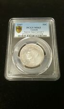 1947 PCGS MS63 Canada 50C Narrow Date Curved 7