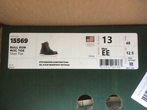 Men's DANNER 15569 Bull Run Black Leather Moc Toe Ankle Work Boots Sz 13 EE