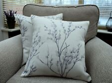 """*NEW* LAURA ASHLEY PUSSY WILLOW OFF WHITE/PALE IRIS CUSHION COVER 17"""" HANDMADE"""