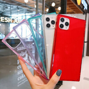 Square Phone Case Sequins Candy Color Cover For iPhone 7 11 12 Pro Max X XS XR