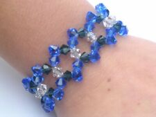 Beaded Bracelet Sapphire Montana Blue and Clear Swarovski Crystal Elements