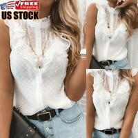 Women's Lace Ruffle Sleeve Vest Tank Tops Ladies Summer Casual T Shirt Blouse