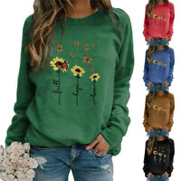 Women Casual Floral Printing Long Sleeve Sweatshirt Pullover Shirts Tops Blouse