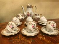 Vintage 6 Cups 6 Saucers German Bavaria Mitterteich Porcelain Coffee Set