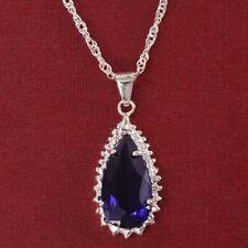 Fashion 925 Silver Necklace Sapphire Tanzanite Pendant Wedding Jewelry Gift