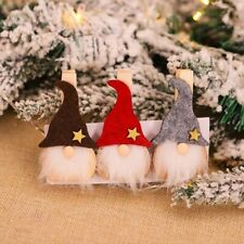 3pcs Christmas Star Hat Wooden Cartoon Clip Christmas Decor Tree Decor Xmas Gift