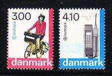 Denmark 1988 MNH Mi 921-922 Sc 854-855 Bicyclist & Mobile Telephone Europa CEPT