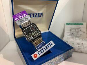 Citizen 8981 Thermometer Dual Time Chrono-Alarm Ana-Digi Quartz LCD Watch