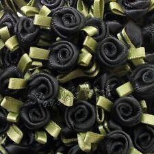 Mini Small Satin Ribbon Roses with Satin Leaves Choose Colour/Pack Size Free P&P