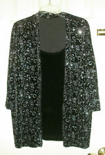 Ladies NOTATIONS Top w/Faux Shell 2X Woman Black Floral Sparkles