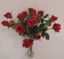 6 x FAUX SILK RED ROSE BUD SPRAYS WITH LEAVES : 37CM
