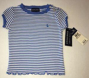Ralph Lauren Little Girls Sz 18 Months Blue/White Striped 100% Cotton Shirt NWT