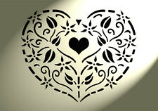 Shabby Chic Rustic Stencil Heart Small Flowers Vintage style A4 297x210mm Wall