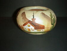 Southwest Redware Pottery Bowl Hand Painted Scenes