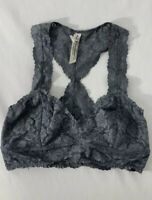 Intimately Free People Anthropologie Bralette Bra Size S Lace Racerback Gray