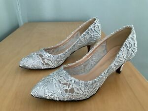 Silver Grey lace low heel court shoes New size 5.5