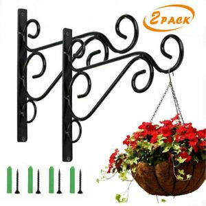 2XHeavy Duty Garden Metal Hanging Basket Brackets Plant Hanger Hook Wall Decor W