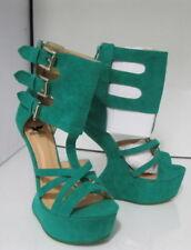 Decolté e sabot da donna cinturini, cinturini alla caviglia verde in camoscio