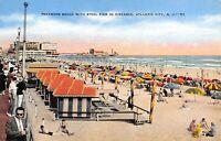 Atlantic City NJ~Traymore Hotel Beach~Nice Cabanas~Chevrolet~Taffy~1940s Linen