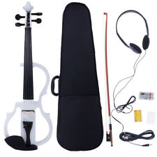 New V-013 White 4/4 Size Practice Electric Silent Violin w/ Case Bow Rosin