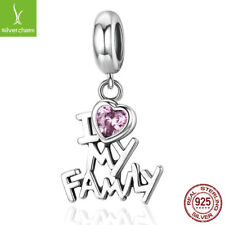 "925 Sterling ""I Love My Family"" Heart Dangle Charms fit Women Authentic silver"