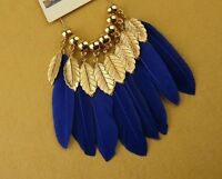 Boho dream catcher style blue and gold leaf and feather chandelier necklace