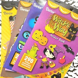 4 Darice Halloween Sticker Books Witch Spooky Eyes Freaky Fountain Hair Kids Lot