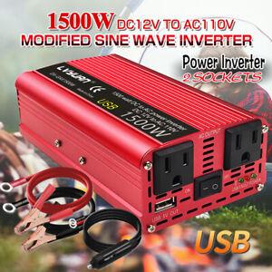 Car Vehicle Power Inverter 1500W Peak DC 12V to AC 110V 120V Converter Trip USB