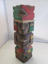 Statuette en bois - vieux mexicainsculpté à la main - art populaire design 30cm