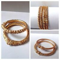 Gold Plated Ethnic Jewelry Bangle Indian Bollywood Traditional Bracelet Set