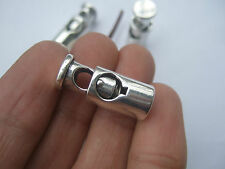 2 Tibetan Silver Barrel Shaped Cord Stopper Lock End Toggles With Metal Spring