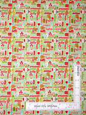 Christmas Words Deer Santa Green Cotton Fabric Riley Blake Santa Express - Yard