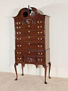HARDEN Furniture Co Shell Carved Solid Dark Cherry Queen Anne Highboy