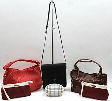 Lot of 6 Salvatore Ferragamo Crouche & Fitzgerald Burberry Deux Luxe Handbags