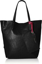 Splendid Faux Leather Key West Black Tote Shoulder Bag 2 Extra Compartments