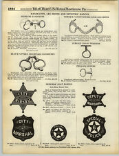 1932 PAPER AD Bean's Adjustable Handcuffs Peerless Tower's Phillips Nippers Star
