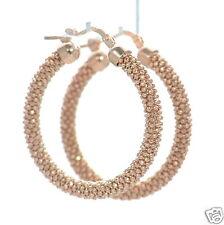 Solid 925 Sterling Silver Rose Gold Plated Mesh Hoop Earrings '