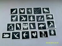 10 - 400 bird stencils (mixed) for etching glass  owl penguin swan rooster eagle