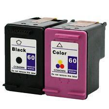 2PKs HP 60 HP60 Ink Cartridge BLACK & COLOR CC640WN CC643WN