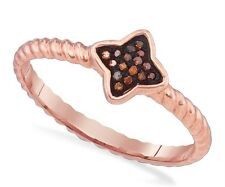 Red Diamond Ring 10K Rose Gold Red Diamond Star Cluster Ring Rope Band .05ct