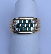 14kt Yellow Gold Diamond And Genuine Emerald Ring Size 6
