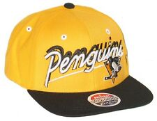PITTSBURGH PENGUINS NHL HOCKEY VINTAGE YELLOW SHADOW SCRIPT SNAPBACK HAT/CAP NEW
