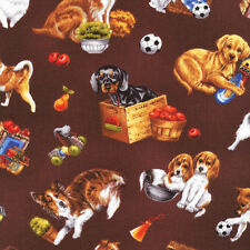 Fat Quarter Furry Friends Dogs Brown Cotton Quilting Fabric  Fabri Quilt