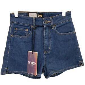 Lee Size 7 Pretender Ocean Blue Denim Casual Shorts Light Stretch High Waisted