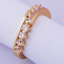 Womens Band Ring clear crystal Yellow Gold Filled Size 6.25 Gifts Free Shipping