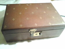 Vintage Estate Brown Gold Costume Green Valuables Treasure Chest Jewelry Box
