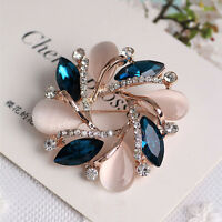 Trendy Lady Diamond Crystal  Bauhinia Shape Brooch Dress Decorative Pin for Girl