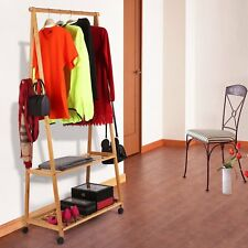 Bamboo Clothes Garment Rack with 2-Tier Storage Shelves for Bedroom Entryway New