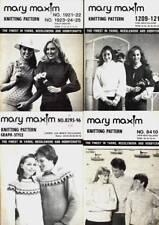 MARY MAXIM VTG KNITTING PATTERNS LOT G OF 4 COWL NECK CREW NECK EYELET
